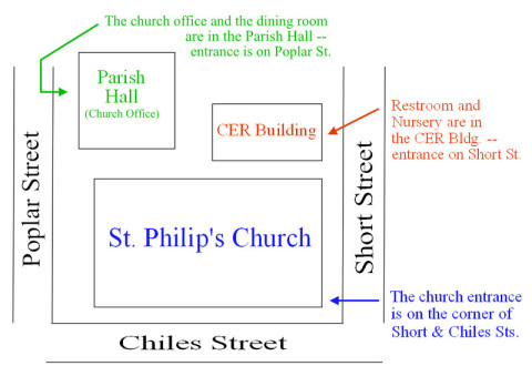 diagram of St. Philip's church buildlings